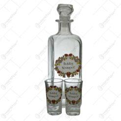 Set 1 buc. sticla cu 2 buc. pahare realizate din sticla