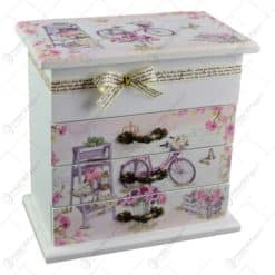 Cutie pentru bijuterii in forma de dulapior - Design vintage cu trandafiri si bicicleta (Model 1)
