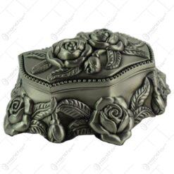 Cutie metalica pentru bijuterii - Design antic cu flori (Model 2)