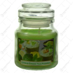 Lumanare parfumata in borcan cu capac - Design Green Tea - 2 modele