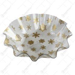 Tava rotunda transparenta realizata din material plastic - Design Fulgi de nea aurii (Model 1)