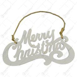 """Decoratiune de agatat realizat din lemn pentru usa/geam - Design Craciun cu mesajul """"Merry Christmas"""" - Alb"""