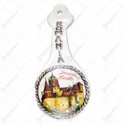 Lingura pentru decor din ceramica cu maner ondulat. decorat cu grafica - Castelul Bran