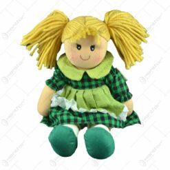 Jucarie realizata din material textil - Fetita cu rochie verde