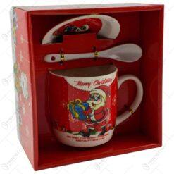 "Set Cana de craciun cu farfurie si lingura realizata din ceramica in cutie - Design Mos Nicolae si inscriptia ""Merry Christmas"" - Diverse modele (Model 1)"