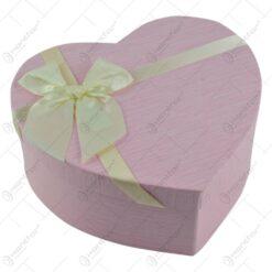 Set 3 cutii cadou in forma de inima - Design cu fundita - Diverse culori