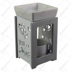 """Candela aromaterapie realizata din ceramica - Design cu inimioare si mesajul """"You&Me"""""""