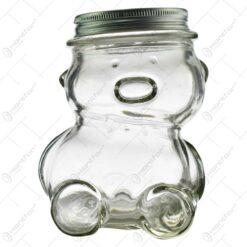 Borcan pentru miere din sticla in forma de ursulet (Model 3)
