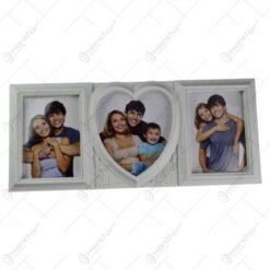 Rama foto din lemn - Collage - 3 poze - Inima