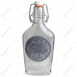 Plosca inalta din sticla cu decor embosat - Boldog névnapot!