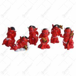 Set 6 ornamente decorative realizate din rasina - Dracusori indragostiti