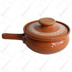 Oala de sarmale din ceramica decorat cu motive traditionale 1 L