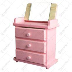 Mobilier cu oglinda si sertare realizata din lemn - Roz