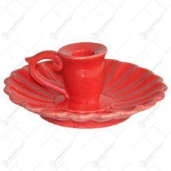 Candela realizata din ceramica cu farfurie si maner - 2 modele