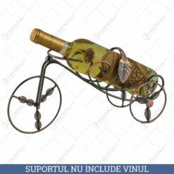Suport pentru sticla de vin realizat din metal - Design cu frunze (Model 1)