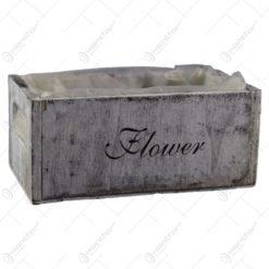 """Lada realizata din lemn pentru flori - Design cu inscriptia """"Flower"""""""