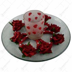 Platou decorativ cu suport pentru lumanare - Design cu inimioare si trandafiri