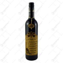 "Vin rosu 0.75l cu eticheta personalizata din pluta - Design ""La multi ani..."" (Model 1)"