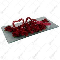 Platou decorativ cu lumanari - Design cu inimioare si trandafiri