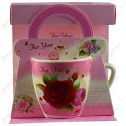 """Cana realizata din ceramica in cutie cadou - Design cu trandafiri si mesajul """"For you"""" - Diverse modele"""