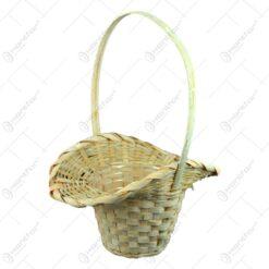Cos rotund cu guler si maner realizat din bambus - Turcoaz