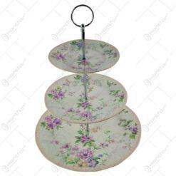 Platou etajat cu 3 nivele realizat din ceramica - Design cu flori (Model 2)