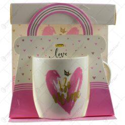 Cana realizata din ceramica in cutie cadou - Design cu inimioare si mesaj - Diverse modele (Model 2)