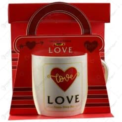 Cana realizata din ceramica in cutie cadou - Design cu inimioare si mesaj - Diverse modele (Model 3)