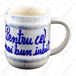 Cana ceramica in forma de halba inscriptionata - Romania