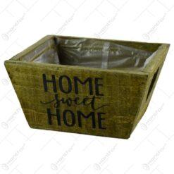 """Ghiveci realizat din lemn pentru flori - Design cu inscriptia """"Home sweet home"""" - 2 modele"""