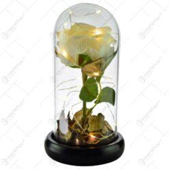 Trandafir in cupola de sticla decorat cu lumini led - Diverse culori (Model 2)