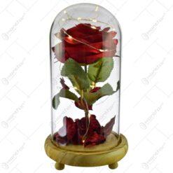 Trandafir in cupola de sticla decorat cu lumini led - Diverse culori (Model 3)