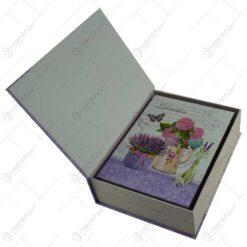 Set 3 cutii cadou in forma de carte - Design lavanda