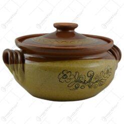 Oala de sarmale din ceramica colorat cu motive traditionale 5 L