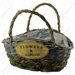 "Ghiveci tip poseta realizat din rachita cu maner - Design cu inscriptia ""Flower&Garden"""