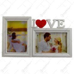 Rama foto tip stativ realizata din material plastic pentru 2 fotografii - Design Love (Model 1)