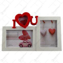 """Rama foto dubla realizata din plastic - Dim. poza 2 buc. 15x10 cm - Design cu mesajul """"I love you"""""""