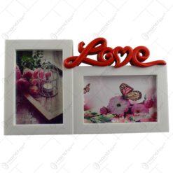 "Rama foto dubla realizata din plastic - Dim. poza 2 buc. 10x15 cm Design cu mesajul ""Love"""