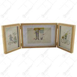 Rama foto tripla din lemn - Dim. poza 2 buc 10x15 cm