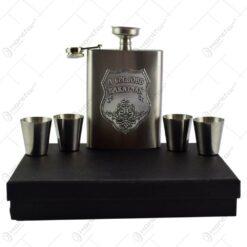Set plosca cu palnie si 4 pahare din inox is cutie eleganta cu captuseala. cu decor embosat - A legjobb barátnak