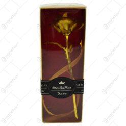 Trandafir realizat din plastic in cutie cadou - Auriu (Model 1)