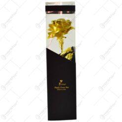 Trandafir realizat din plastic cu led in cutie cadou - Auriu (Model 2)