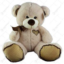 Ursulet realizat din plus - Design cu panglica si inimioara (Model 1)