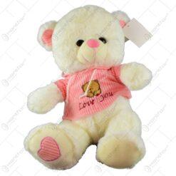 """Ursulet realizat din plus - Design cu mesajul """"Love you"""" (Model 2)"""