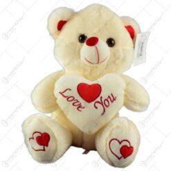 "Ursulet realizat din plus - Design cu inimioara si mesajul ""Love you"" (Model 2)"