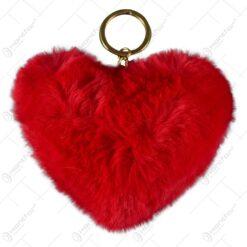 Set 12 brelocuri realizate din blana artificiala in forma de inima