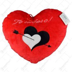 "Decoratiune in forma de inima realizata din material plusat - Design cu inimioare si mesajul ""Te iubesc"" (Model 3)"