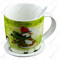 Cana de craciun cu farfurie si lingurita realizata din ceramica - Design Craciun - Diferite modele (Model 3)