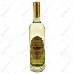 """Vin alb 0.75l cu eticheta personalizata din pluta - Design """"Pentru cel mai bun tata"""""""