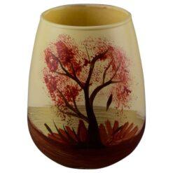 Vaza realizata din sticla - Desgin cu peisaj de toamna (Model 1)